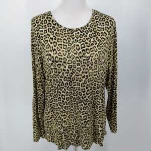 Chicos L Shirt Blouse Animal Print Beige